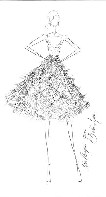 Bocetos de vestidos de fiesta